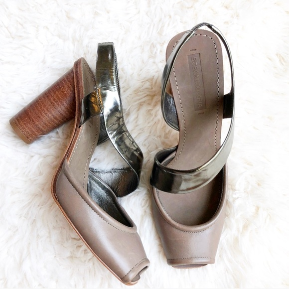 010fdecbb BCBGMAXAZRIA Henia Metallic Strappy Sandal Heels
